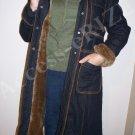 Women's Baby Phat Bue Jean Syle Brown Fur Knee Length Coat Size Large