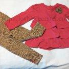 12 M Months Baby Girl Child of Mine Carter's Pink & Cheetah Animal Print Leggies Matching Set