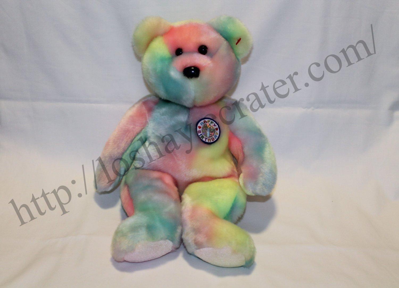 The Beanie Buddies Collection TY Rainbow Happy Birthday Bear 2001 Soft  Plush Stuffed Kid Toy 0ee1570bc00
