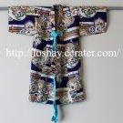 Authentic Japanese Child Metallic Silver Lining Kimono Garment Cultural Bird Fan Sumurai Helmet