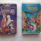 2 VHS Tapes Lot Masterpiece Collection Aristocats Black Diamond Classic The Rescuers Down Under