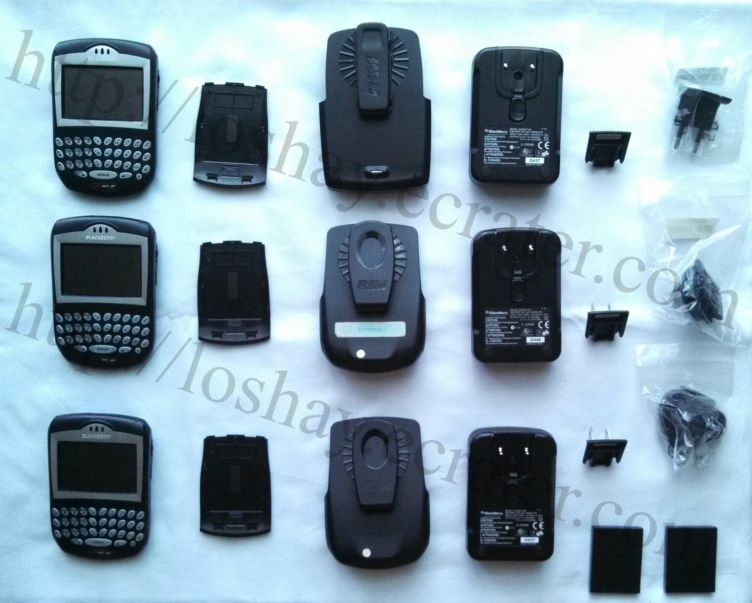 BlackBerry Smartphone Black Huge Lot Rechargeable Batteries Clip-On Holsters Power Adaptors PreOwned