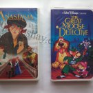 2 VHS Tapes Lot 20th Century Fox Anastasia Black Diamond Classic The Great Mouse Detective