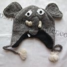 Handmade Nepal Children Winter Wool Hat Animal Elephant Straps Pom Pom Ears Trunk Eyes Tusks Unisex