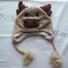 Handmade Nepal Brown MOOSE Antlers Eyes Children Wool Knit Unisex Hat Animal Straps Pom Pom