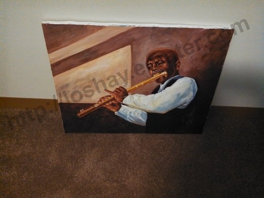 African American Art Black Soloist Hand Painting On Canvas Musical Artist Wind Instrument Flute