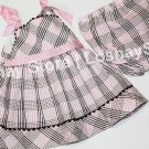 Summer Spring 9M Pink and Brown Plaid Baby Toddler Girl Dress Matching Bloomers Bottoms