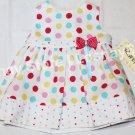 Summer Spring 9M Brand New Rare, Too! Baby Toddler Girl Colorful Polka Dot Dress w/ Bow Ribbon