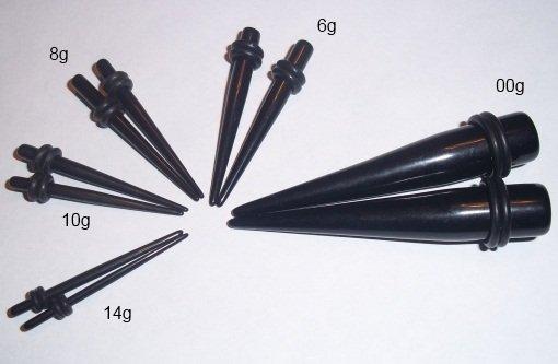 Black Acrylic Tapers Kit (14g, 10g, 8g, 6g, 00g)