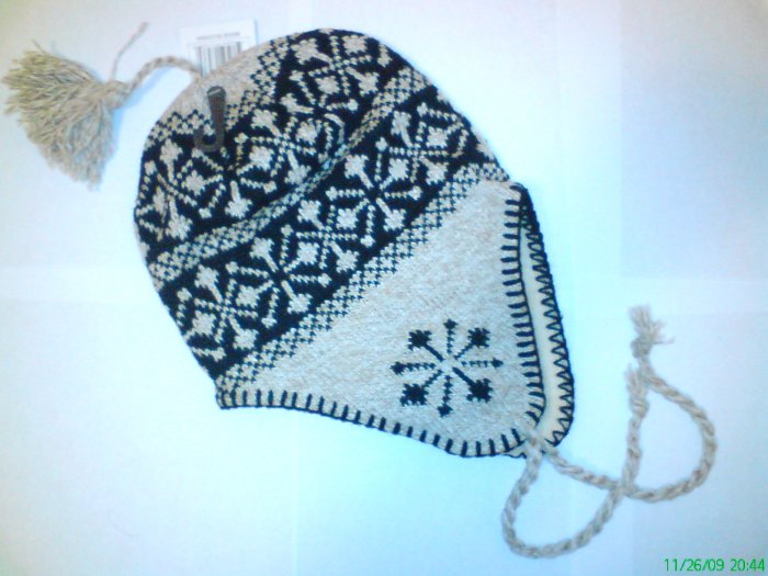Khaki Snowflake Ski Snowboard Knit Earflap Beanie Cap