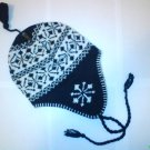 Blue Snowflake Ski Snowboard Knit Earflap Beanie Cap