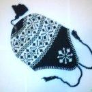 Black Snowflake Ski Snowboard Knit Earflap Beanie Cap