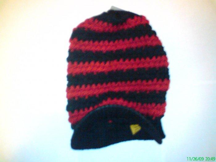 Black / Red Ski Snowboard Knit Striped Visor Beanie Cap