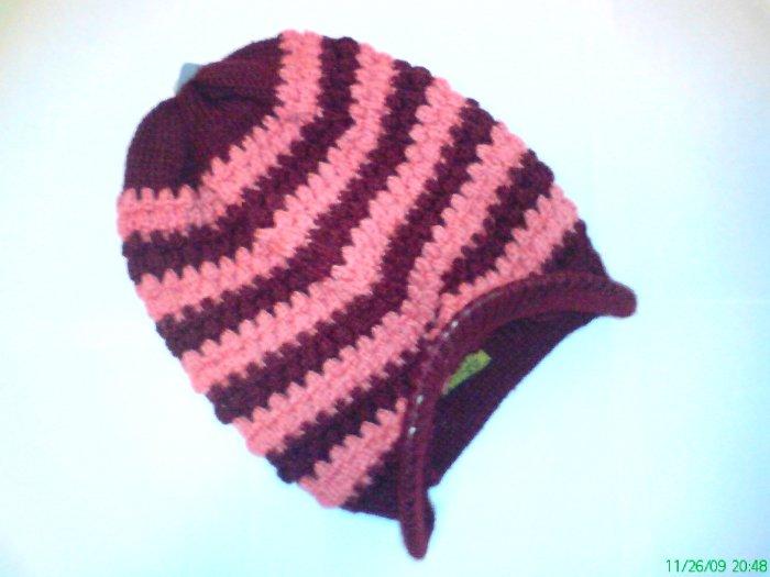 Brown / Red Ski Snowboard Knit Striped Visor Beanie Cap