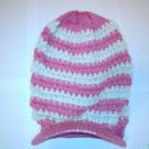 Pink / White Ski Snowboard Knit Striped Visor Beanie Cap