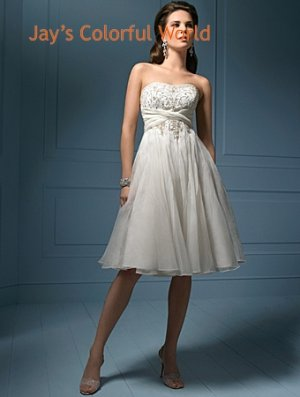 Tea-Length Scoop Neckline Custom Made Wedding Dress Bridal Gown