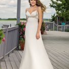 A-line Deep V-Neckline Custom Made Wedding Dress Bridal Gown