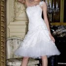 Vintage T-Length One Shoulder Appliques Custom Made Wedding Dress Bridal Gown