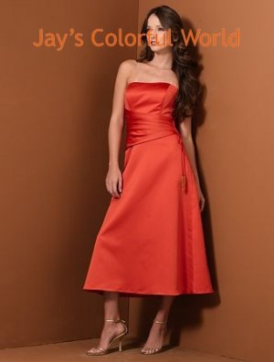 Orange A-line Scoop Neckline Strapless Satin Bridesmaid Dress