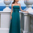Blue Straight Neckline Strapless Bridesmaid Dress Evening Dress