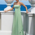 Green Spaghetti Strap Straight Neckline Bridesmaid Dress Evening Dress
