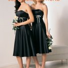 Black Short Strapless Bridesmaid Dress Evening Dress