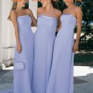 Baby Blue Floor Length Steaight Neckline Chiffon Bridesmaid Dress Evening Dress
