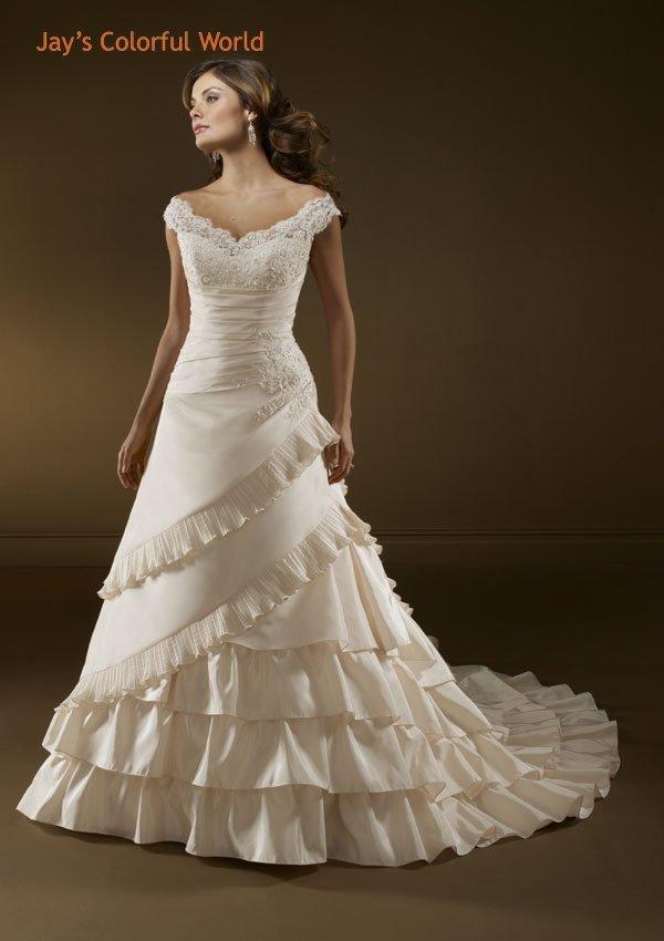 Ivory V Neckline Appliques Beading Wedding Dress Bridal Gown