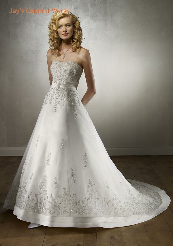 A-line Scoop Neckline Strapless Backless Embroidery and Beads Wedding Dress Bridal Gown