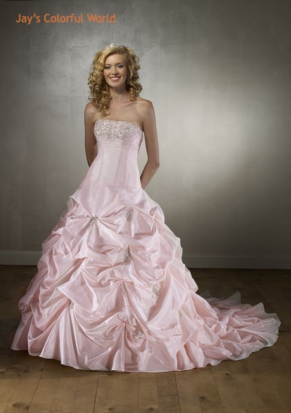 Pick-up Embroidery and Beads Taffeta Wedding Dress Bridal Gown