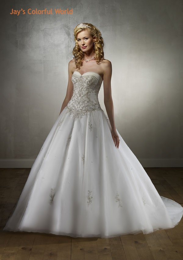 Ball Tuller Sweetheart Neckline Strapless Embroidery Beading Train Wedding Dress Bridal Gown