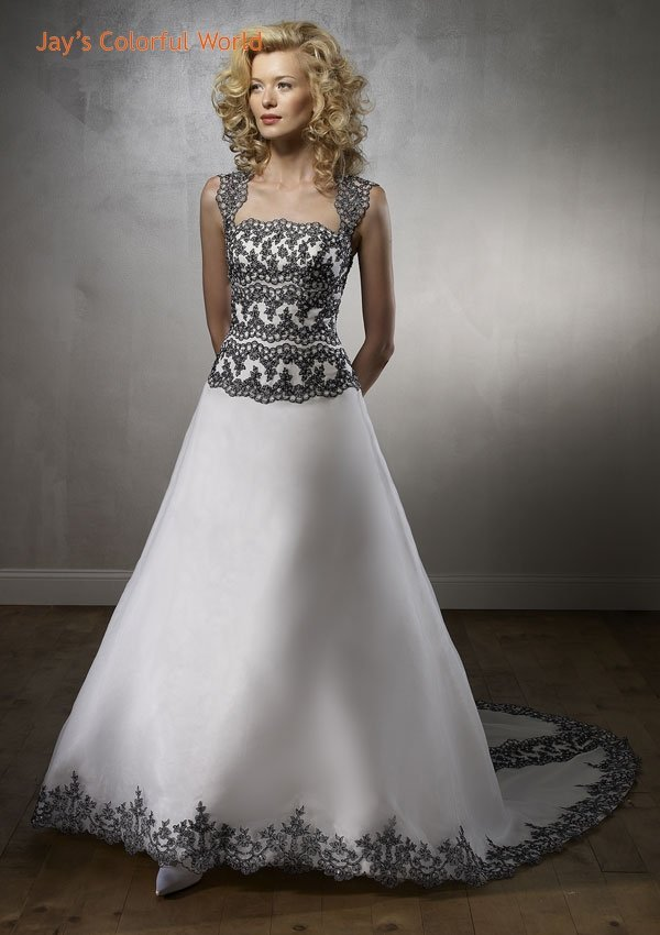 White and Black Applique A-line Organza Appliqued Wedding Dress Bridal Gown