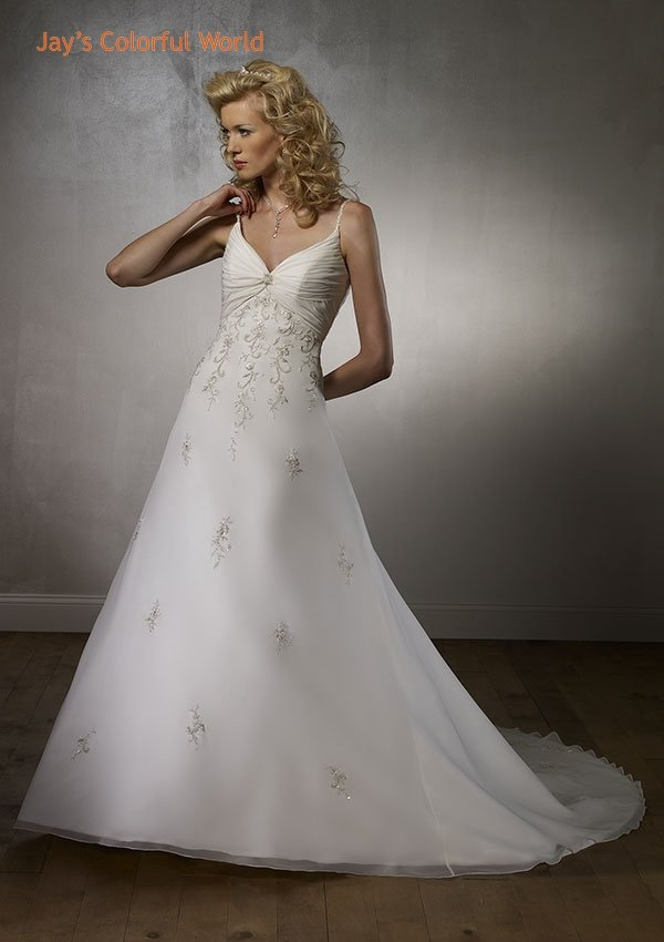 Deep V Neckline Spaghetti Strap Lace up Embroidery Beading Chiffon Wedding Dress Bridal Gown