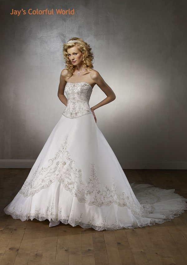 A-line Scoop Neckline Strapless Tuller Embroidery Beading Train Wedding Dress Bridal Gown