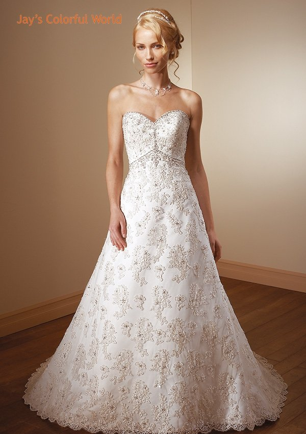 A-line V-Neckline Strapless Applique Beading Wedding Dress Bridal Gown