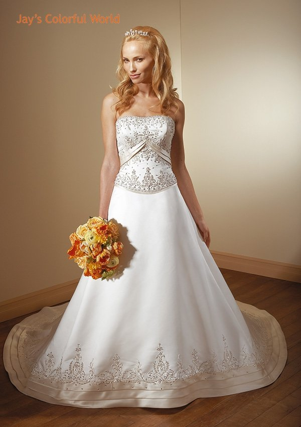 A-line Strapless Backless Embroidery Beading Train Wedding Dress Bridal Gown