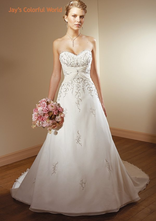 A-line V-neckline Strapless Embroidery Beading Chiffon Wedding Dress Bridal Gown