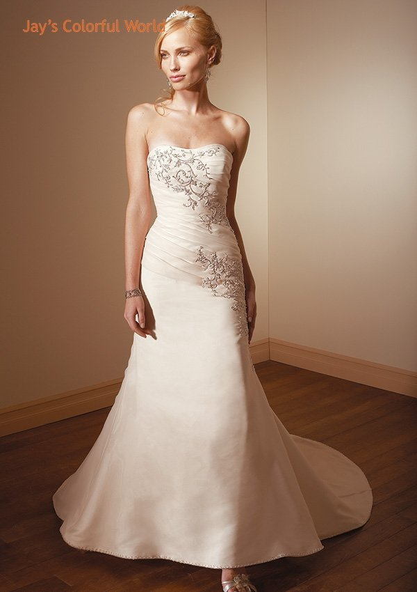 A-line Scoop Neckline Strapless Embroidery Beading Sweep Train Wedding Dress Bridal Gown