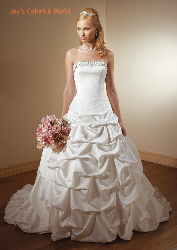 Pick-up Backless Strapless Beading Wedding Dress Bridal Gown