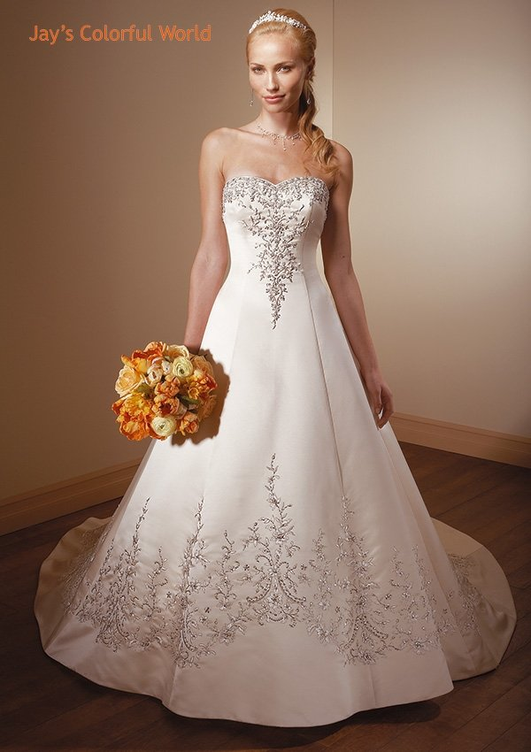 A-line Sweetheart Neckline Embroidery Beading Wedding Dress Bridal Gown