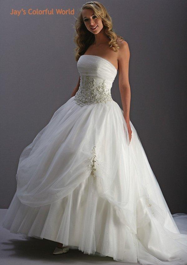 Vintage Strapless Applique Beading Tuller Wedding Dress Bridal Gown