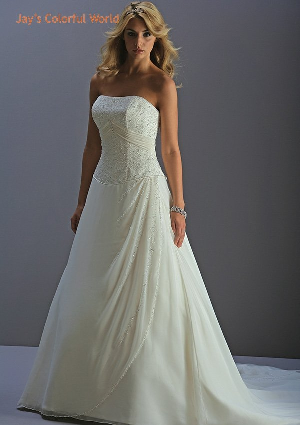 A-line Strapless Lace up Beading Chiffon Wedding Dress Bridal Gown