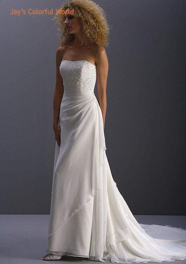 White/Ivory Strapless Chiffon Beading Wedding Dress Bridal Gown