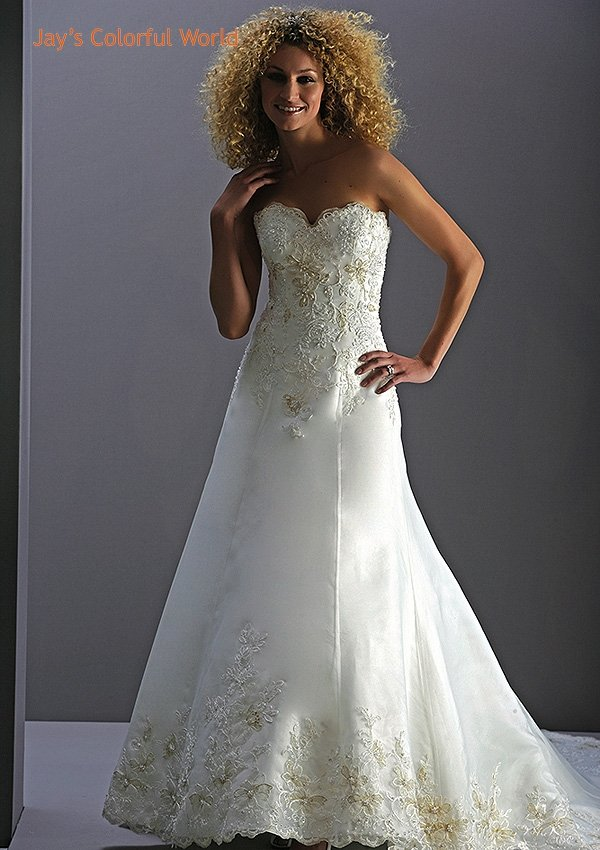 A-line Strapless Appliques Train  Wedding Dress Bridal Gown