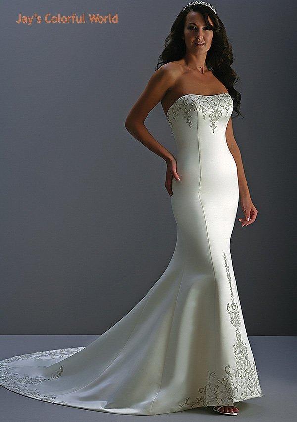 Mermaid Scoop Neckline Strapless  Wedding Dress Bridal Gown