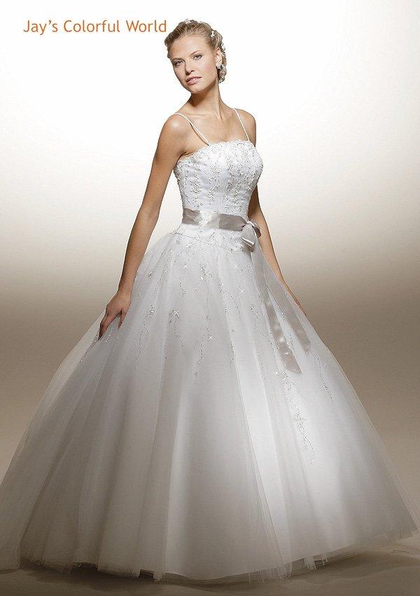 Ball Spaghetti Strap Beading Wedding Dress Bridal Gown