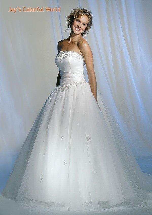 Ball Straight Neckline Strapless Wedding Dress Bridal Gown