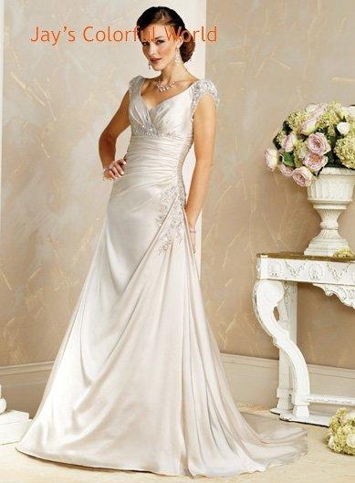 A-line V-neckline Appliques Beading Wedding Dress Bridal Gown