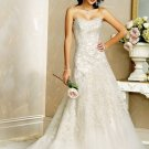 A-line Scoop Neckline Strapless Appliques Beading Wedding Dress Bridal Gown