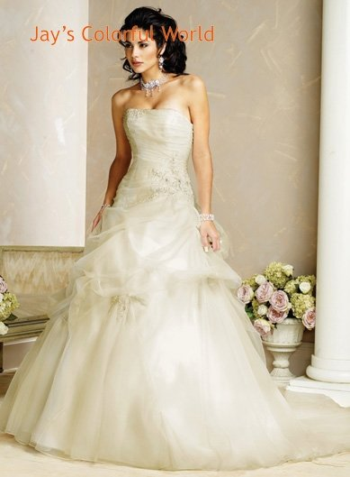 Straight Neckline Strapless Tuller Appliques Beading Wedding Dress Bridal Gown